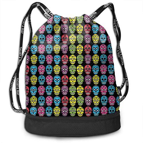 wwoman Girls & Boys Drawstring Sack Theft Proof Lightweight Beam Backpack, Swim String Bag - Mexican Sugar Skull Waterproof Backpack Soccer Basketball Bag