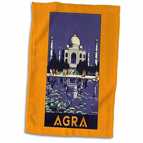3D Rose Agra Gepäcketikett mit Tempel und Stillteich mit Lotusknospen TWL_171271_1 Handtuch, 38,1 x 55,9 cm