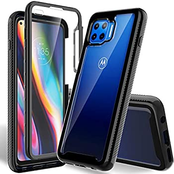 HATOSHI Moto One 5G Case Moto One 5G UW/Moto G 5G Plus Case with Built in Screen Protector Military Grade Heavy Duty Protection Crystal Clear Back Full-Body Rugged Shockproof Phone Cover Black