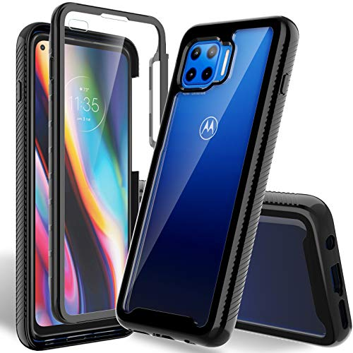 HATOSHI Motorola Moto One 5G Case, Moto One 5G UW Case, Moto G 5G Plus with Built in Screen Protector, Military Grade Heavy Duty Protection, Crystal Clear Back, Full-Body Rugged Shockproof Phone Cover
