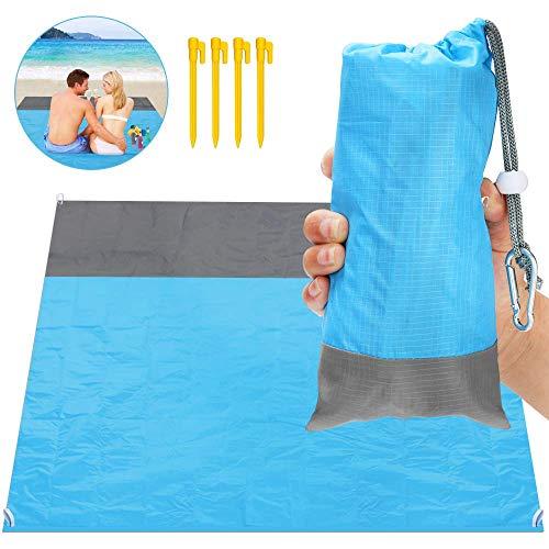 ASANMU Stranddecke, Picknickdecke 210 x 200 cm Stranddecke Wasserdicht, Ultraleicht Outdoor, Ideal für Den Park, Reise und Camping Sandabweisende Tragbare Camingmatte Matte mit 4 Pfosten