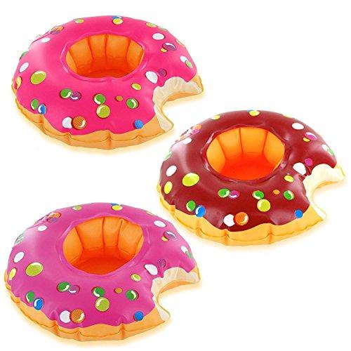 Gaocheng Portavasos inflable, paquete de 12 flotadores para bebidas inflables, posavasos para verano, fiesta en la piscina y juguetes de baño para niños, color aleatorio