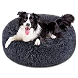 FOCUSPET Dog Bed Cat Bed Donut, 32 inches Pet Bed Faux Fur Cuddler Round Comfortable for Large Medium Small Dogs Ultra Soft Calming Bed Self Warming Indoor Sleeping Bed Multiple Sizes