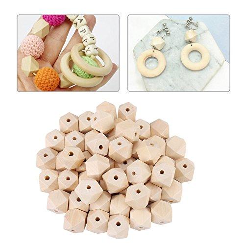 50 stuks houten kralen, onvolmaakte geometrische polyeder houten kralen 20 mm natuurlijk hout facetgeslepen DIY decoratieve accessoires voor handgemaakte sieraden maken armband slinger haar