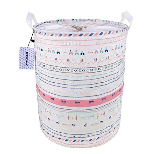 Kimjun Multifunktionale Faltbare Baumwolle Leinen Waschekorb Waeschesammler Korb Kinder Spielzeug Aufbewahrungskorb Aufbewahrungsbox mit deckel - Trojaner Streifen