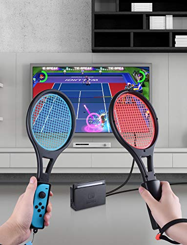 Tennis Racket for Nintendo Switch Joy-Con, Tendak Game Accessories for Mario Tennis Aces Game with 12 in 1 Game Card Case