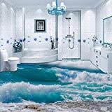 Pvc selbstklebende wasserdichte 3d bodenfliese tapete moderne meerwasser welle foto