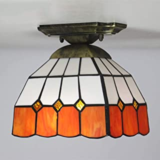 Tiffany Style Ceiling Lamp Creative Glass Ceiling Lamp European Porch Home Garden Corridor Ceiling Lamp (Color : 7)
