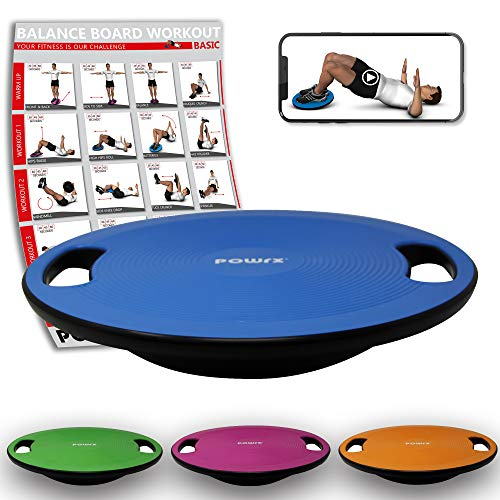POWRX Balance Board inkl. Workout I Wackelbrett Ø 39cm mit Griffen I Therapiekreisel für propriozeptives Training und Physiotherapie Royal Blue
