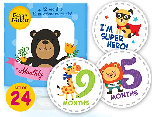 Premium Baby Milestone Monthly Stickers 24pcs - Month Onesie First Year Stickers - [Set of 12 + 12 Photo Bonuses] Baby Shower Gift for Scrapbook Photo