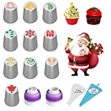 Christmas Russian Piping Tips, 23 Pcs Christmas Baking Supplies Cake Decorating Tips for Cakes Cupcake Cookies Muffins, Baking Gifts for Women or Teens, 10 Icing Tips 2 Couplers 11 Pastry Baking Bags