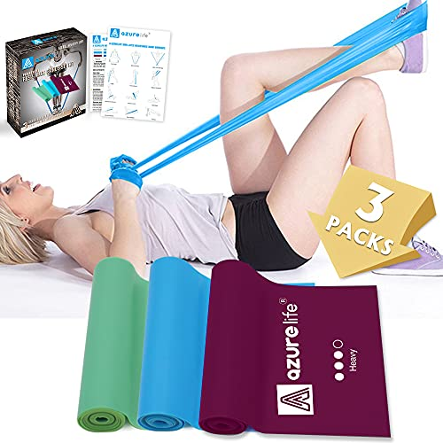 A AZURELIFE Resistance Bands, Professional Non-Latex Elastic Exercise Bands, 5 ft. Long Stretch Bands for Physical Therapy, Yoga, Pilates, Rehab, at-Home or The Gym Workouts, Strength Training