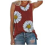 Camiseta de tirantes para mujer y adolescente, con estampado de girasol, sin mangas, holgada, para verano, larga, elegante, túnica, blusas, camisetas de manga corta rojo XXL