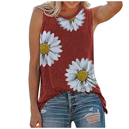 Fcostume Tie-Dye Basic Shirts Damen Sommer Basic Tops Übergröße Ärmelloses T-Shirt Weste Top Shirt Bluse Oberteile Bluse Tank Top