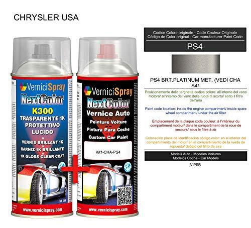 Kit de retoque automotriz - Pintura en spray para coche en color metálico/perla PS4 BRT. PLATINUM MET. VEDI CHA S4) y capa transparente brillante, aerosoles de 400 ml por VerniciSpray