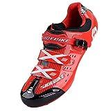 TXJ Unisexe Respirant Chaussures de vélo Professionnels pour Route (SD-003 Noir/Rouge pour Le Route, EU 44/Ft 28cm)