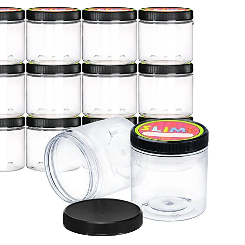 Empty Slime Storage Containers - 12 Pack - 8 Oz. Clear Slime Jars with Lids and Labels - BPA Free Material