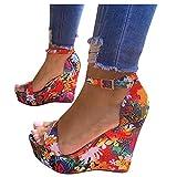 Celucke Sandali Zeppa Piattaforma da Donna con Stile Romano Stampa floreale Estate Fibbia Aperti Cinturino Caviglia Scarpe