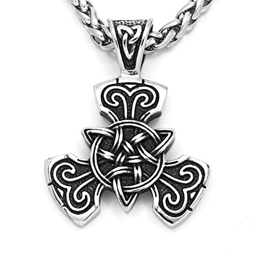 Warvik Triquetra Celtic Knot Irish Pendant Necklace Protection, Stainless Steel Jewelry Mens Womens Wheat Chain 20/28inch