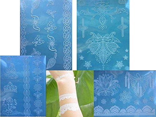 4 Feuille Tatouages temporaires Blanche Henna Style White Dream Sienna pour le corps Bijoux corporel