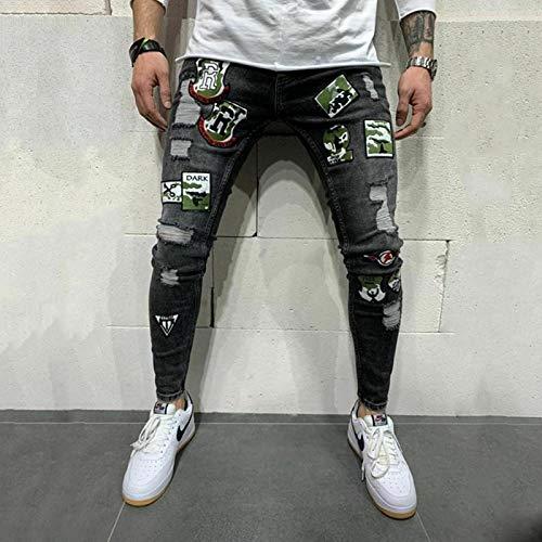 Guapo Jeans Vaqueros Pantalon Hombres Jeans Rasgados Biker Skinny Destroyed Pantalones De Mezclilla Elásticos Moda Stree