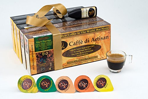 Caffè di Artisan Coffee Pods, 120 All Major Variants Flavored Coffee Capsules. Without Nespresso or Keurig Coffee Machine, 100% Recyclable Luxury Coffee Pods. Free Frother with Every Order.