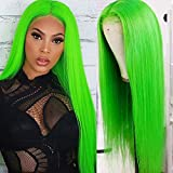 QD-Tizer Lace Front Wigs Green Color Long Straight Hair Wigs for Fahison Women Heat Resistant Synthetic Wigs with Baby Hair