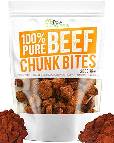 Paw Originals Grain Free Natural Dog Treats 100% Pure Beef Chunk Bites Air-Dried Food for Dogs - Just Pure Beef - Gluten & Lactose Free - Deliciously Healthy Raw Dog Treat for Adult Dogs or Puppy