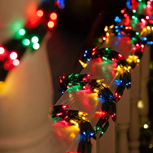 9' Multicolor Garland Lights on Green Wire – Garland Outdoor Lights Garland Christmas Outdoor Lights, Garland String Lights (9 Ft, 300 Lights, Multicolor Lights on Green Wire)