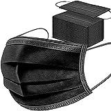 50 Stück Schwarze Einweg-Gesichtsmasken, atmungsaktiv, Staubmaske, Dehnbare elastische Ohrschlaufen(Schwarz 50 Stück).