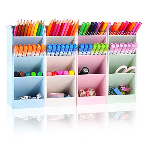 SITAKE Organizador de soporte para bolígrafos, organizador y almacenamiento de lápices de 4 colores, organizador de escritorio grande y accesorios, papelería bonita (4 colores grandes)