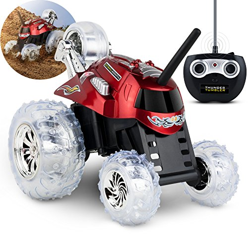 BLACK SERIES Thunder Tumbler Children's Remote Control Spinning Stunt Car, Red