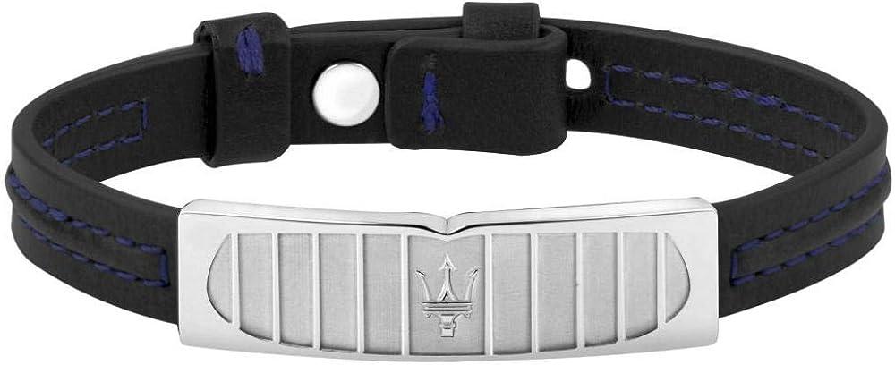 Maserati collezione jewels bracciale da uomo in acciaio e cuoio JM417AKV08