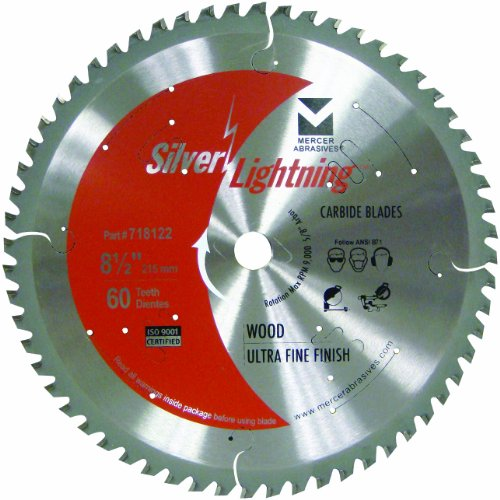 Mercer Abrasives 718122 60-Tooth ATB Carbide Wood Cutting Blade with 8-1/2-Inch Diameter and 5/8-Inch Arbor, Ultra Fine Finish