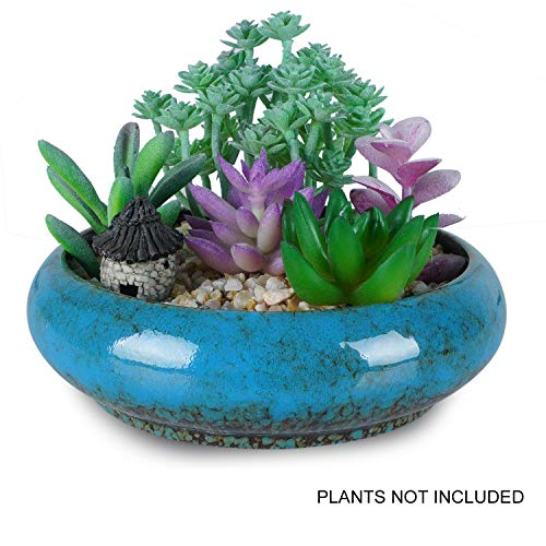 7.3 inch Round Succulent Planter Pots with Drainage Hole Bonsai Pots Garden Decorative Cactus Stand Ceramic Glazed Flower Container (Blue)