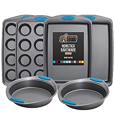 Gorilla Grip Original Kitchen Bakeware Sets, 6 Piece Baking Set with Silicone Handles, Includes 2 Large Size Cookie Sheets, 2 Round Oven Baking Cake Pans, Two 12 Cup Cupcake Pan, Aqua