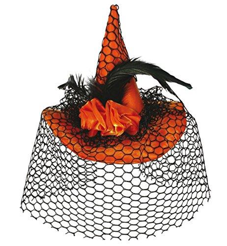 Carnaval chapeau de sorcière avec système clip orange 38605–mini chapeau de sorcière neuf/emballage d'origine