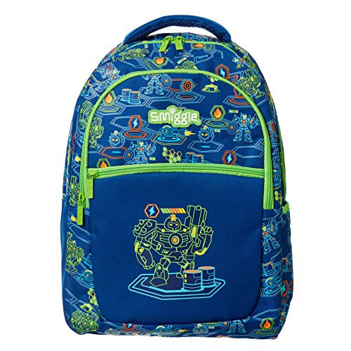 Smiggle Neat Kids School Backpack for Boys & Girls with 3 Zipped compartments and Drink Bottle Sleeve   Robot Print
