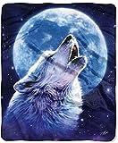 Northwest Raschel Howling Wolf Throw 50 in x 60 in