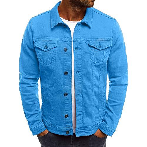 KPILP Herrenmode Herbst Winter Taste Einfarbig Vintage Jeansjacke Tops Bluse Mantel Outwear Langarm-Shirt(Blau, 2XL)
