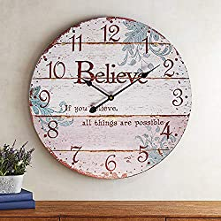 BEW Rustic Wall Clock, Distressed Vintage Old Style Believe Rustic Shiplap Decorative Wall Clock, Silent Wooden Hanging Clock for Living Room, Bedroom, Farmhouse, Apartment, Hotel - 24 Inch