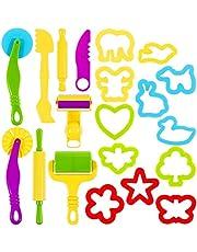 Lictin kneedgereedschap, kneedaccessoires, 20 stuks, deeg, plasticgereedschap, uitsteekvormen, speelgoed voor kinderen multicolor