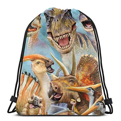 Lmtt Gimnasio Bolsas con cordón Mochila Dinosaurios Sackpack Tote para viajar Almacenamiento Organizador de zapatos Escuela Hombro Botella de agua Adultos Talla única