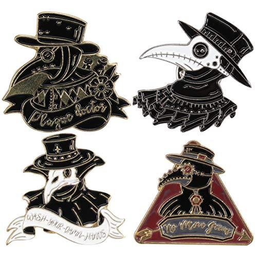 VALICLUD 4Pcs Halloween Brosche Pin Krähe Rabe Brosche Gothic Emaille Brosche Pin Kleidung Zubehör für Cosplay Party Männer Halloween Erwachsenen Schwarz