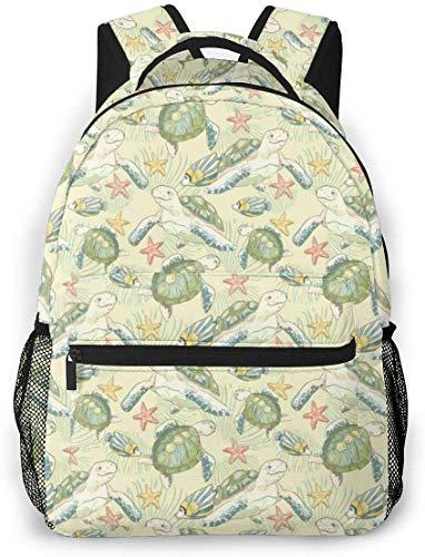 Sea Fish Turtles Sea 16 im Schulrucksack Strapazierfähiger, lässiger Basic Bookbag für Schüler
