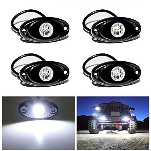 YONEDA LED Rock Lights 4PODS Waterproof LED Neon Underglow Light for Car Truck ATV UTV SUV Jeep Offroad Boat Underbody Glow Trail Rig Lamp (White)