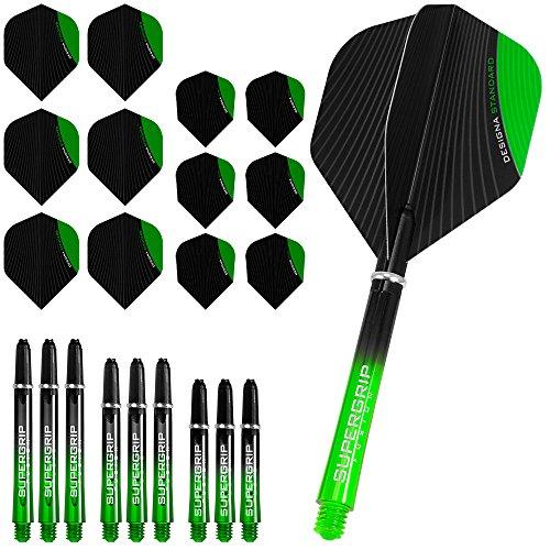 Darts Corner Designa infusión para Dardos y cañas Combo Kit–Verde–Incluye Dardos Esquina bolígrafo con Curvas
