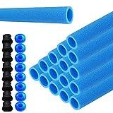 UISEBRT 16x Trampolin Schaumstoff Rohre Polster Blau 92cm für 8 Stangen -Stangenschutz Schaumstoff inkl. Kappen