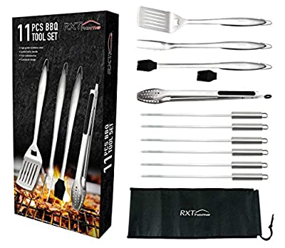 RXThome Top 11 PCS Heavy Duty BBQ Grilling Tool Set, Stainless Steel Utensils Grill: Spatula, Tongs, Fork, Brush, 1 Silicone Part Bonus, 6 Skewers, Portable Storage Bag, Best Gift Box, Outdoor, Indoor