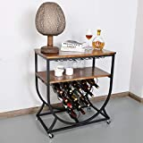 BENOSS 15-Bottle Industrial Wine Bar Rack for Home, Metal & Wood Wine Display Rack with Glass Holder, Kitchen Wine Storage Cabinet, Vintage Brown